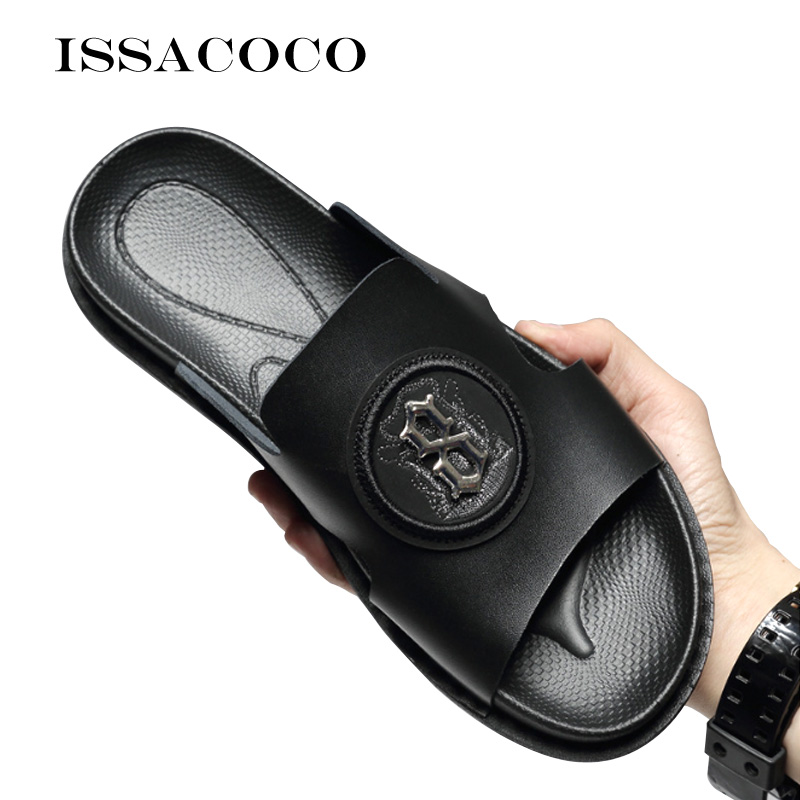 ISSACOCO Men's Slippers Sandals Flip Flops Fashion Home House Beach Male Slippers Genuine Leather Home Slippers Pantuflas Kapcie