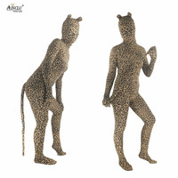 Ainclu Free Shipping Womens Lycra Spandex Zentai Leopard Animal Costume Masquerade Cosplay for Women and kids Hallween Bodysuit