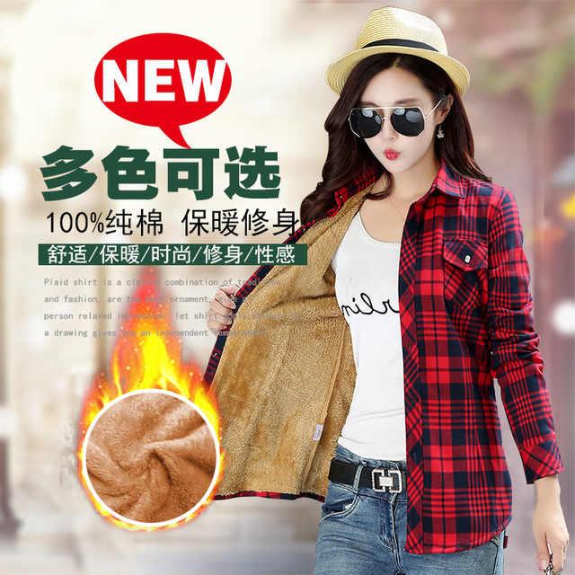 חדש אופנה חורף חם כותנה בציר קטיפה משובץ חולצה נשים בתוספת גודל חולצה חולצות Blusas ליידי בגדים אדום Chemisier femme