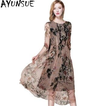 AYUNSUE 100% Silk Chiffon Dress Women Summer 2019 Vintage Floral Printed Ladies Dresses Buttons Sundress vestido longo  Z17X246