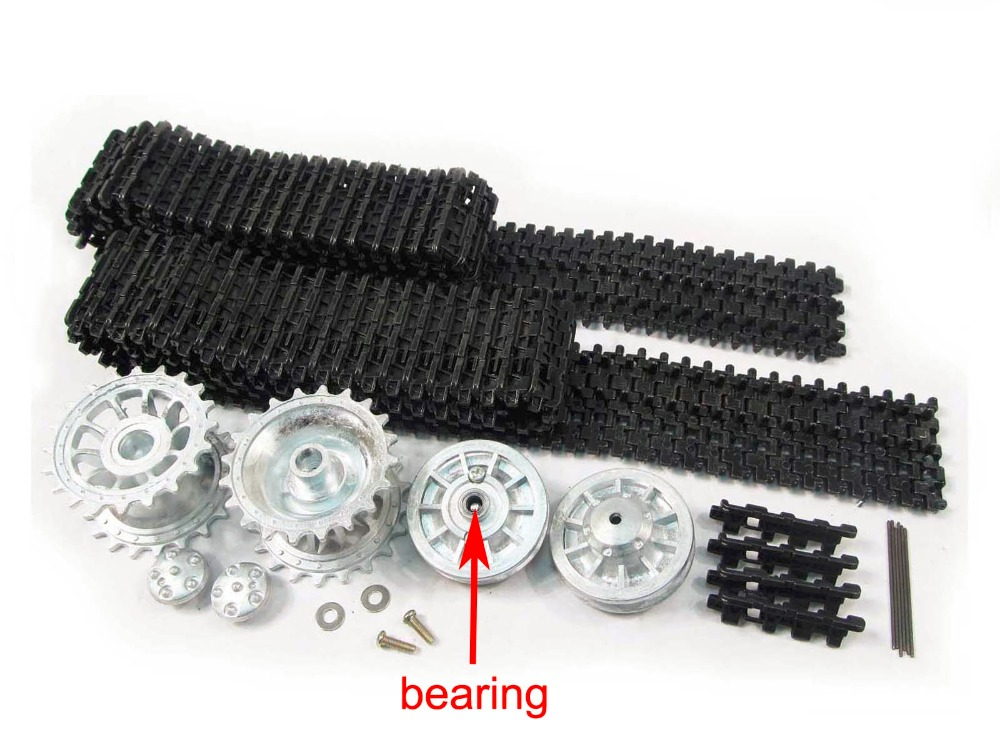 цены Mato 1/16 HengLong Tiger I RC Tank Metal Tracks Sprockets Idler Wheels W/ Bearings MT001