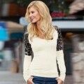 Женщины С Длинным Рукавом Футболка Leopard Повседневная Топы Осень О-Образным Вырезом Свободные Европейский Стиль Мода Дамы Tee Shirt Горячие Продажа Белый, черный