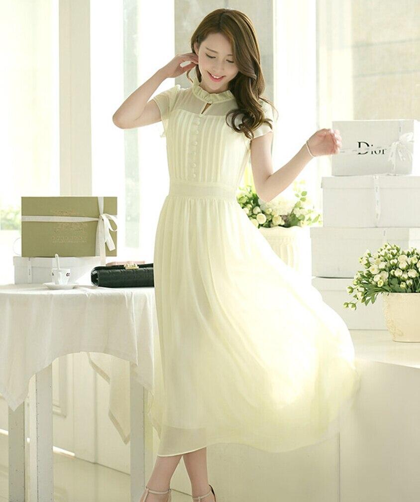 Maxi dress sifon putih telur