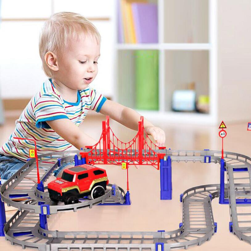 HziriP DIY Children Toys Electric Rail Car Kids Train Track Model Slot Toy Baby Double Orbit Car Birthday Gift Free Shipping