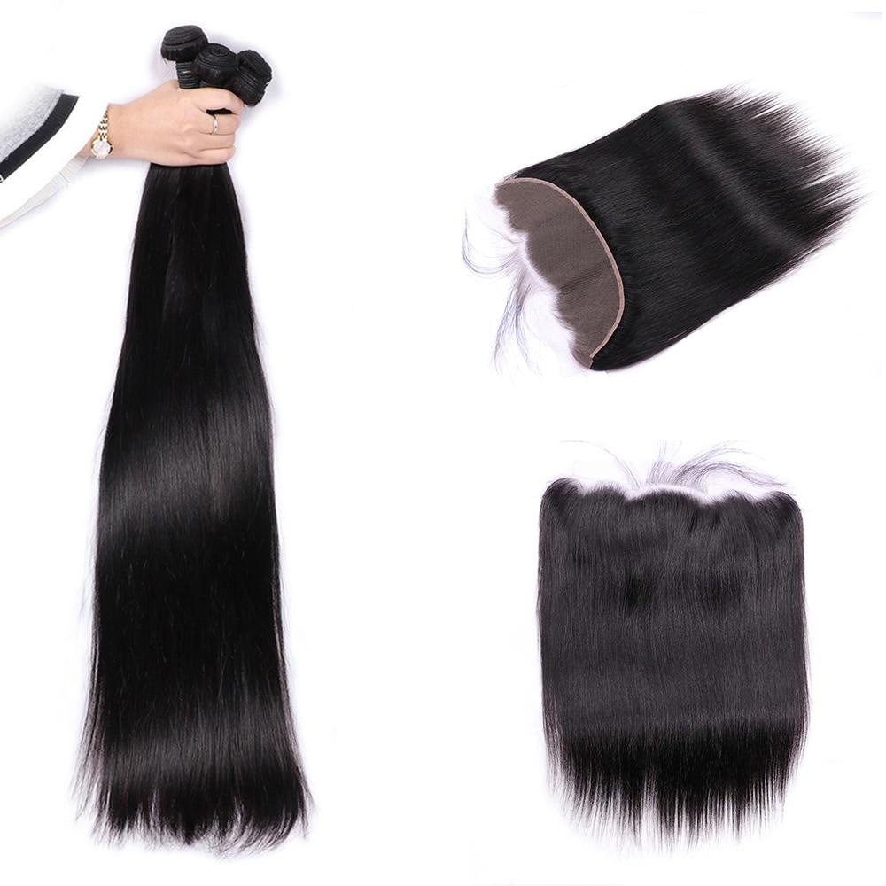 30 32 34 36 38 40 inç Uzun Saç Demetleri Ile 13x4 Kapatma Brezilyalı Saç Örgü 3/4 Demetleri frontal Remy Saç UEENLY
