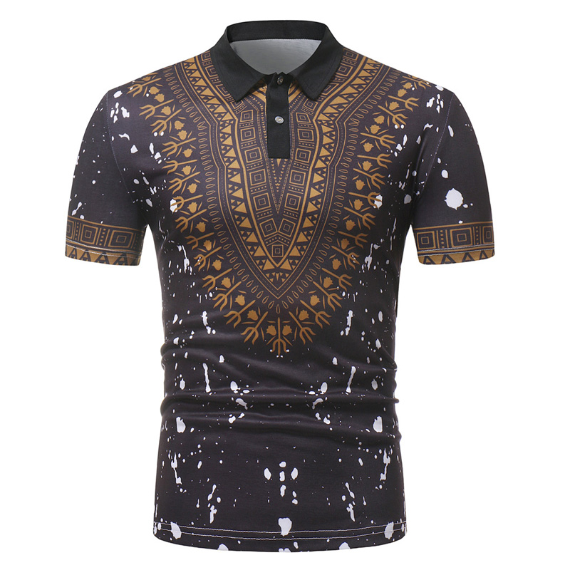 Brand Dashiki   Polo   Shirt Men 2018 Summer New African Print Short Sleeve   Polo   Homme Casual Slim Fit Mens   Polos   Camisa   Polo   Black