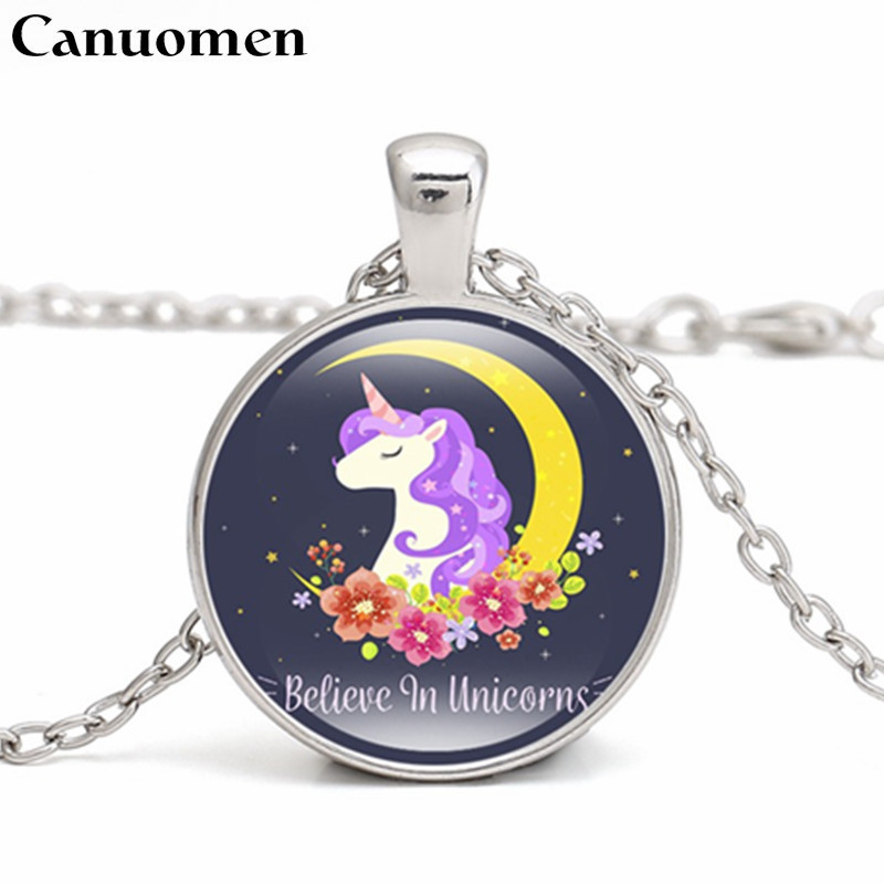 Canuomen New Arrival Unicorn Pendant Necklace 3 Colors Chain Handmade Glass Cabochon Choker Kids Gifts Necklaces Jewelry
