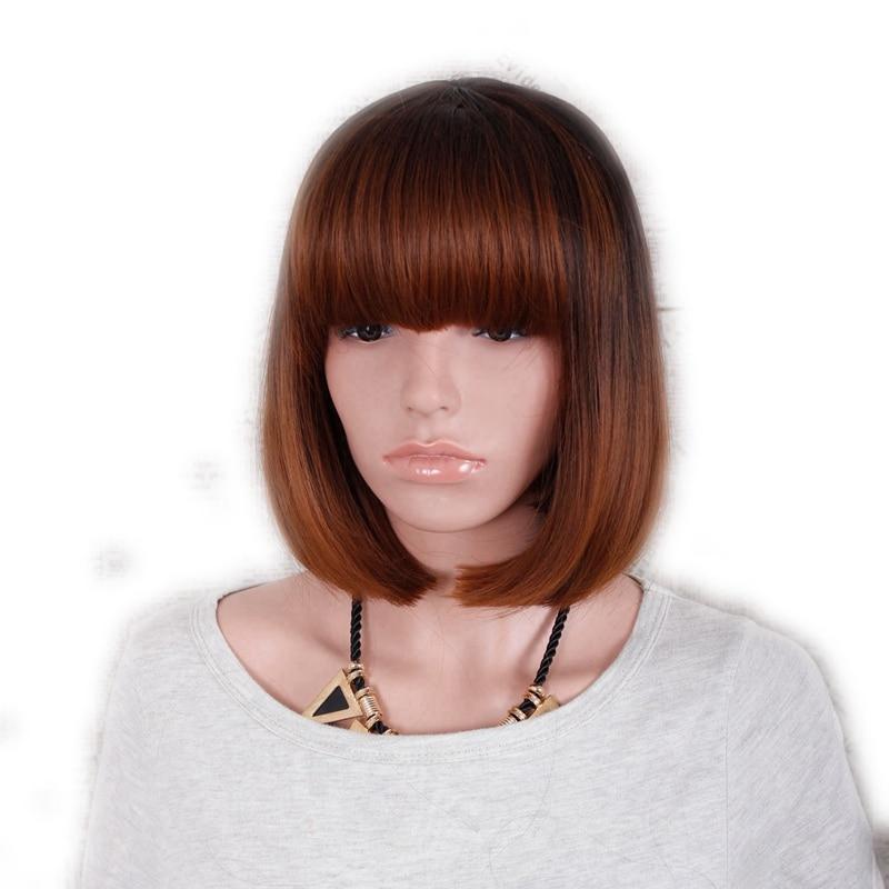 Желание для волос 1шт 13inch короткие прямые ombre черный коричневый цвет термостойкие синтетические парики с челкой кепка среднего размера