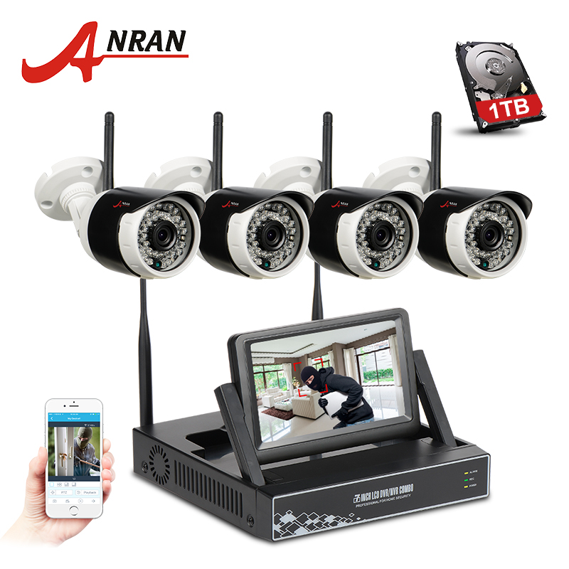 ANRAN Plug And Play 4CH CCTV System Wireless 7 Inch LCD Screen NVR P2P 720P HD IR Outdoor Bullet WIFI IP Camera Surveillance Kit