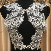 10 Pieces Large   Lace   Applique Ivory White With Sequins   Lace   Accessories   Lace   Fabric For Bridal Veil Decoration