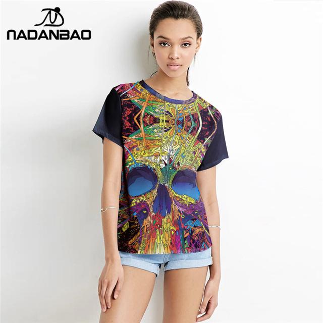 NADANBAO Estrenar Diseño de Graffiti de Verano 3D Digital Impreso Tees O-cuello de Manga Corta T-shirt Mujeres Tops T-shirt Ropa