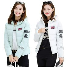 2017 New Women Winter Jacket Thickening Hooded Warm Stitching color Coat Long sleeve Slim Big yards Cotton-padded clothes NZ435