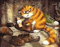 MaHuaf-W225猫こすり靴絵画による数字手描き額装アクリル画像数字でキャンバスに
