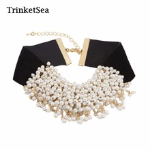 TrinketSea Trendy Black Soft Velvet Choker Collar Necklaces Chunky Pearls Charm Women Fashion Jewelry Free Shipping New Style