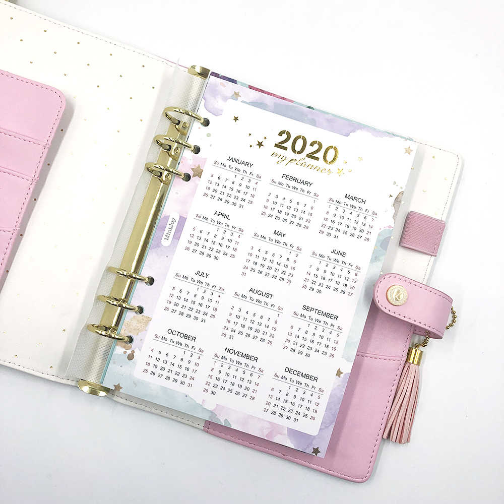 Fromthenon 2020 Year Calendar Index Dividers Watercolor Refill for A5A6 6 Holes Leaf Spiral Notebook Diary School Stationery