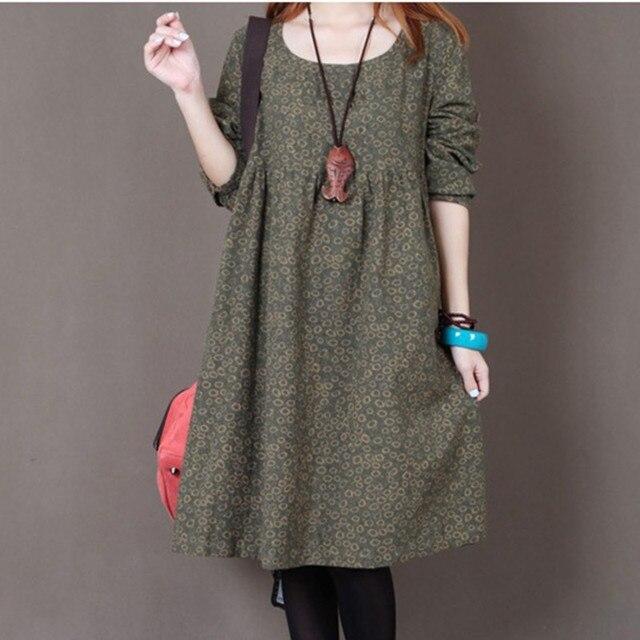 Uego 2021 New Fashion Women Autumn Spring Dress Print Floral Slim Waist Casual Dress Cotton Linen Plus Size Vintage Party Dress 3