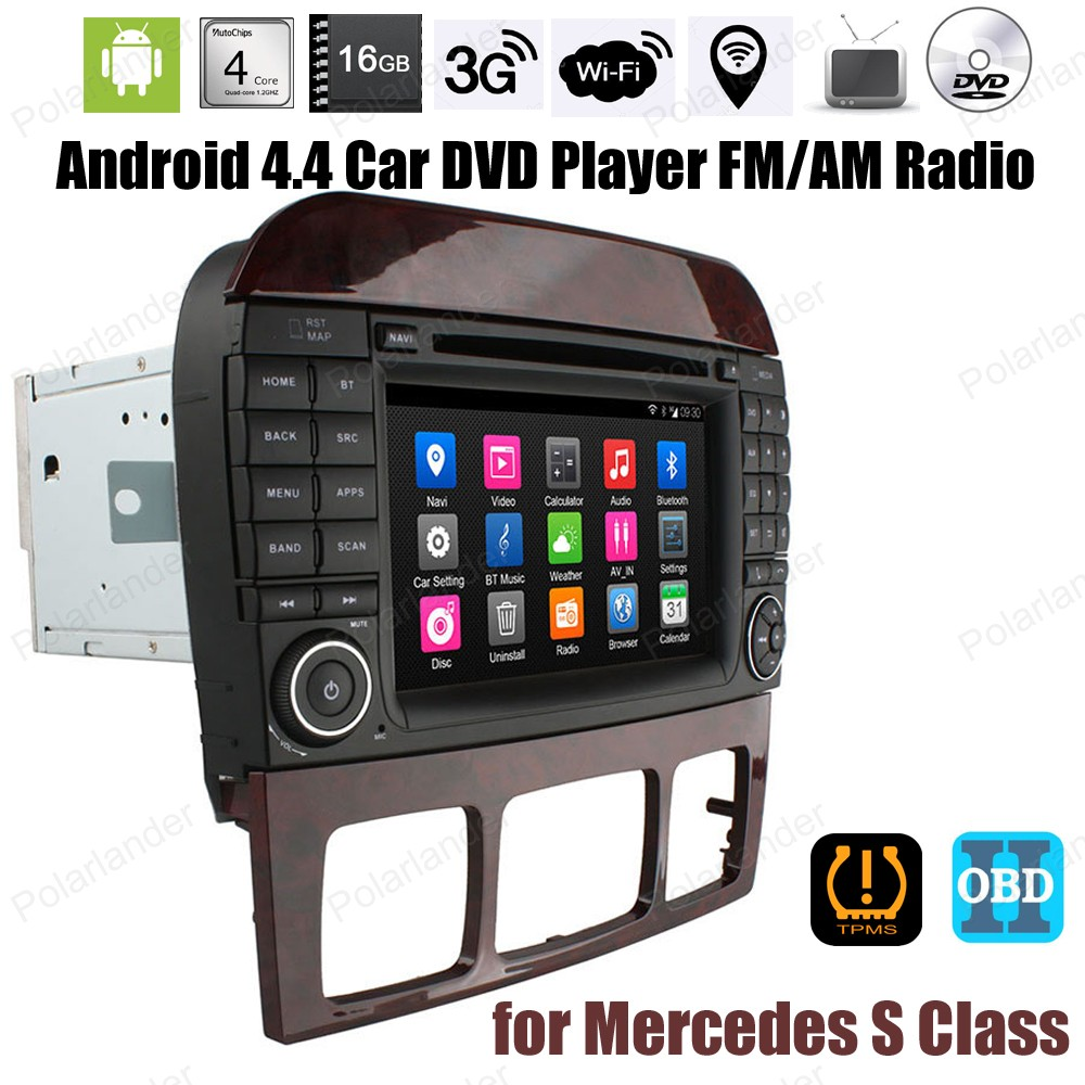 Android4.4 Car CD DVD Support DTV TPMS DAB + OBDII DVR GPS BT 3G WiFi For Mercedes S Class FM AM Quad Core radio stereo