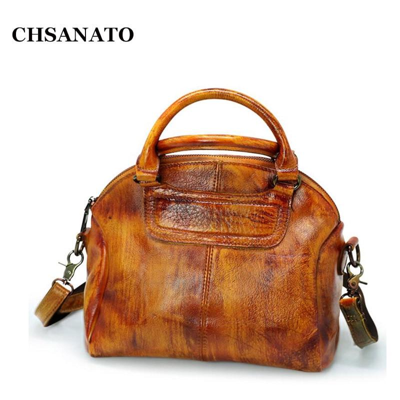 CHSANATO Brand Genuine Leather Shell Bag Cow Leather Small Crossbody Bags Classical Retro Tote Sac