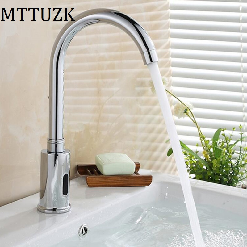 MTTUZK Brass Chrome Plated Bathroom Sensor Faucet Deck Mounted DC6V&AC220V Automatic Water Saving Basin sensor Tap orneira MTTUZK Brass Chrome Plated Bathroom Sensor Faucet Deck Mounted DC6V&AC220V Automatic Water Saving Basin sensor Tap orneira
