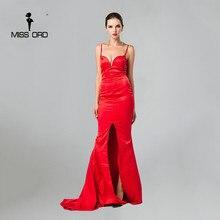 Free Shipping  Missord   2016 Sleeveless halter sexy deep v split dress FT2572