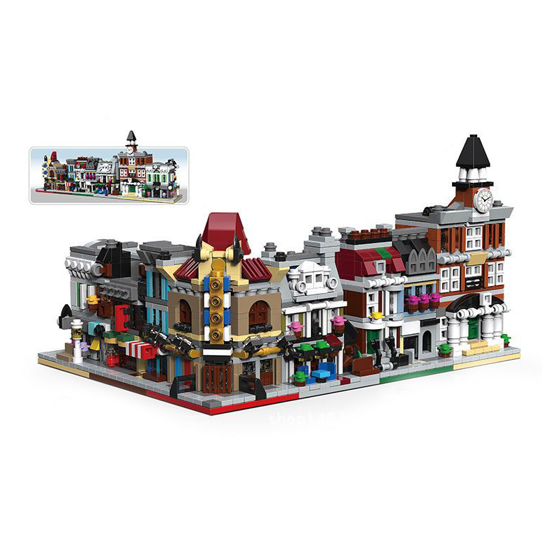 6 In 1 City Mini Street Store Series Cinema Pet Shop Town Hall Bank Model Building Block Toys For Kids Birthday Gifts Legoingly