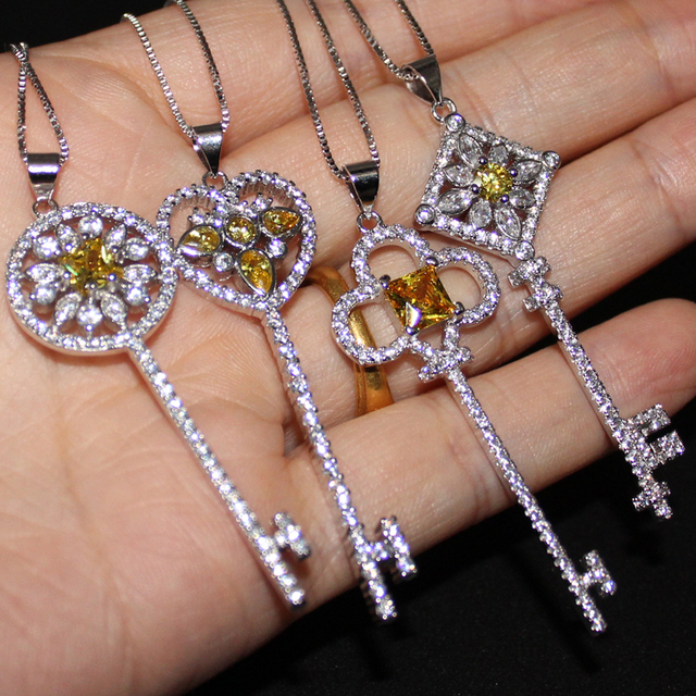 Lady's Silver Yellow Topaz Simulated Diamond CZ Pave Set Heart Flower Key Pendant Choker Chain Sweater Necklace for Women