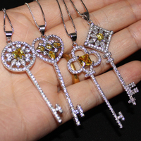 Lady S 925 Sterling Silver Yellow Topaz CZ Pave Set Flower Key Pendant Choker Chain Sweater