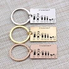 """Семейный Брелок с цепочкой """"Love"""" имя индивидуальный, для питомцев выгравировано 3 цвета для родителей подарок для детей подвеска для ключей сумок"""