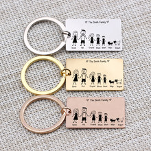 Family Love Key Chain Name Customized Personalized Pets Engraved 3 Colors For Parents Children Present Keyring Bag Charm(China)