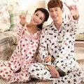 Пижамы женщин Весной и осенью любители пижамы Мужской 100% хлопка с длинными рукавами пижамы брюки Пара lounge плюс размер 4XL