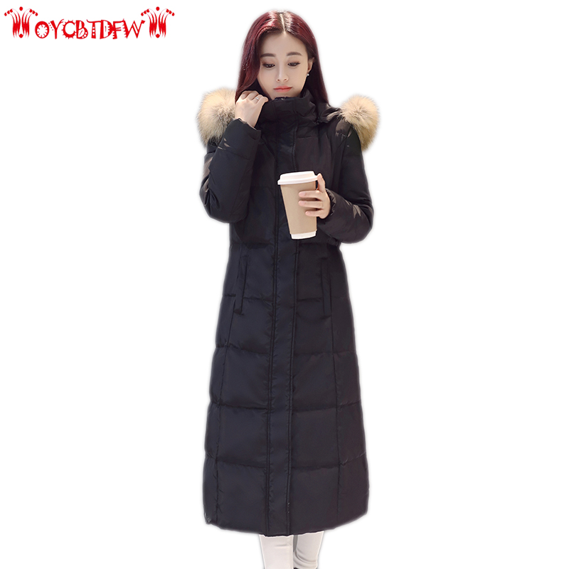 Winter women down jacket new solid color medium long outerwear hooded Fur collar ladies overcoat High-end warm female coat ll852 winter new women outerwear fur collar thick loose down cotton coat medium long section large size warm jacket coat female okxgnz