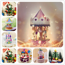 DIY Felt Craft Kids Christmas Music Box Kit Handmade Needle Felting Material Package Gift for Children