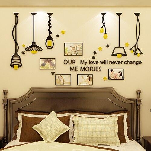 lampu kreatif 3d acrylic wall sticker living room latar belakang