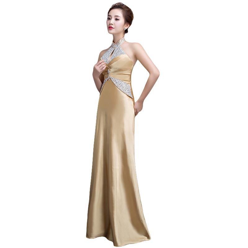 DongCMY 2019 nymodig lång designklänning av soiree courte Guldfärg - Särskilda tillfällen klänningar - Foto 3