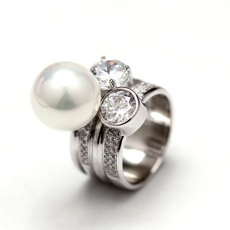 Real big 10-11 mm Perfectly round Freshwater pearl rings for women, Real 925 sterling silver jewelry with Crystal Ring