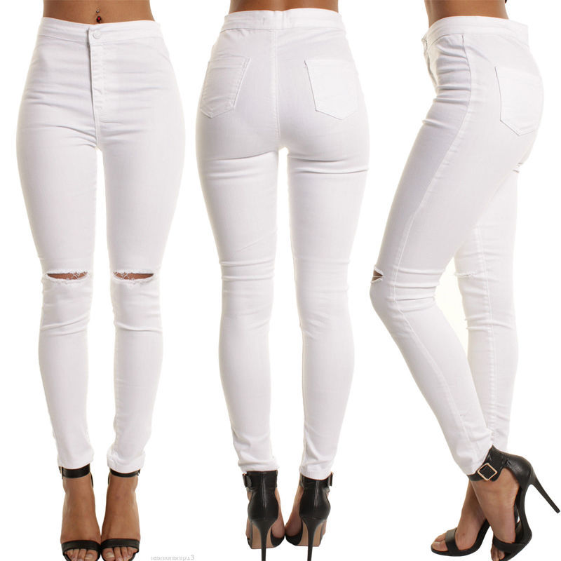 New Fashion New Womens Pencil Pant Broken Hole Sexy Ladies Stretch Trousers Asia Size S-XL