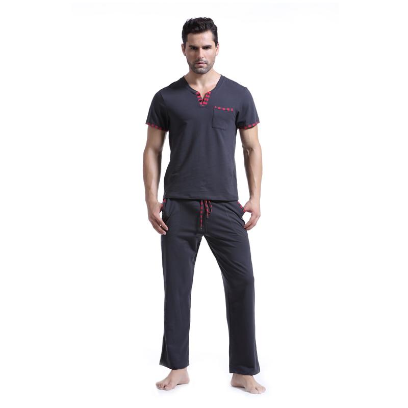 Чисто нови мъжки памучни комплект пижама мъже ежедневни плътни пижама Homme мъже V деколте тениски пижама анцуг плюс размер XL
