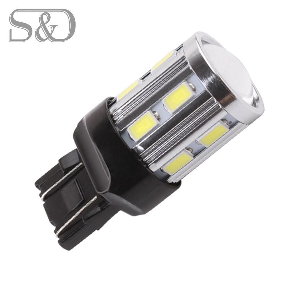 Free DHL 7443 7440 Led car bulbs 12 SMD 5730 Xenon White W21/5W 5W High power Cree Led Chip lamp Bulbs car light source parking