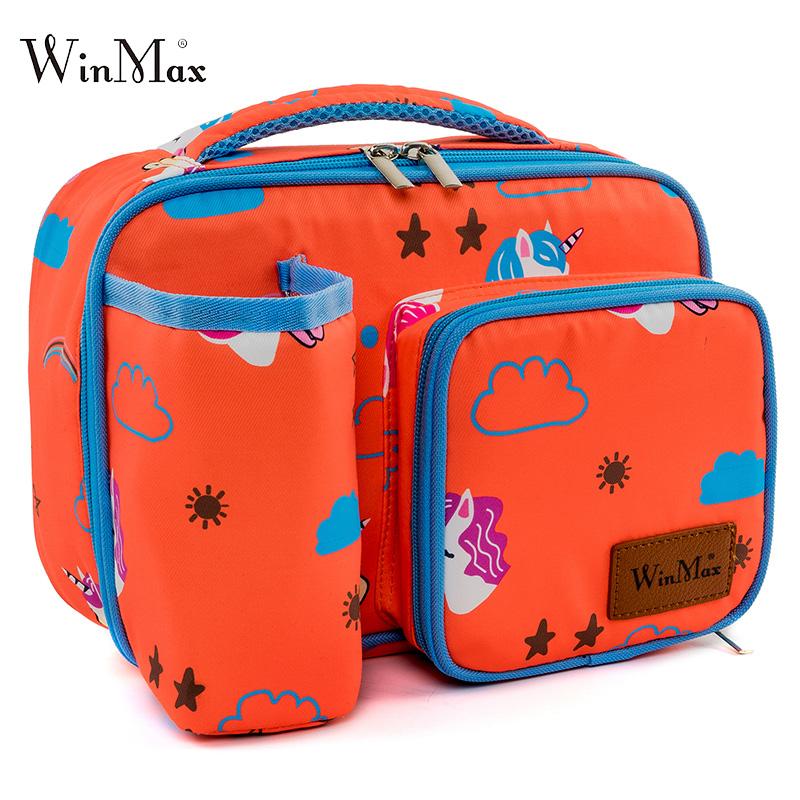 цена на Cute Children Lunch Bag For Kids Gilrs Printing Thermal Insulated Lunch Box Cartoon Tote Cooler Bag Lunch Storage Case Handbag