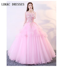 Pink Quinceanera Dresses Long Sleeves Puffy Ball Gown Lace With Flowers Vestido De Debutantes E 15 Anos  Prom Dress Pink light blue tulle quinceanera dresses vestido de debutantes e 15 anos barato vestido de festa ball gown prom dresses beads