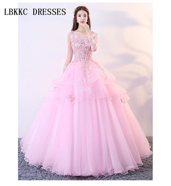 2bcc2123b27a Pink Quinceanera Dresses Long Sleeves Puffy Ball Gown Lace With Flowers  Vestido De Debutantes E 15 Anos Prom Dress Pink