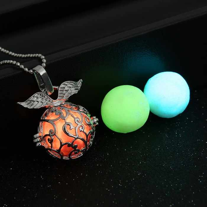 (1 necklace+3 Luminous Beads) vintage glow in dark colorful charms necklaces for women fashion glowing necklace pendants