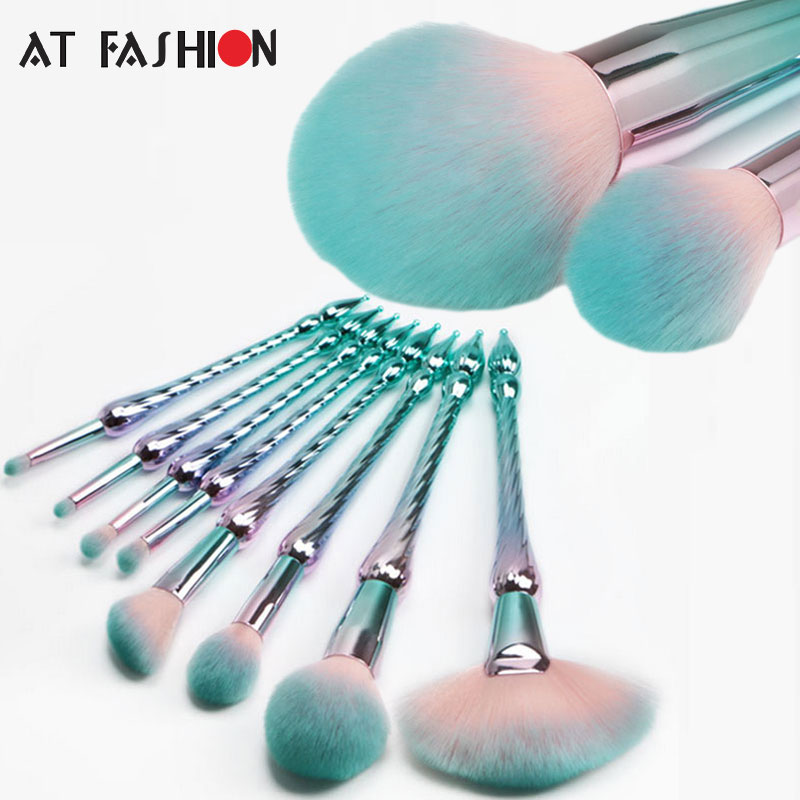 New Style 8pcs Makeup Brush Set Professional Foundation Powder Cosmetic Brush Kit High Quality Unicorn Mermaid