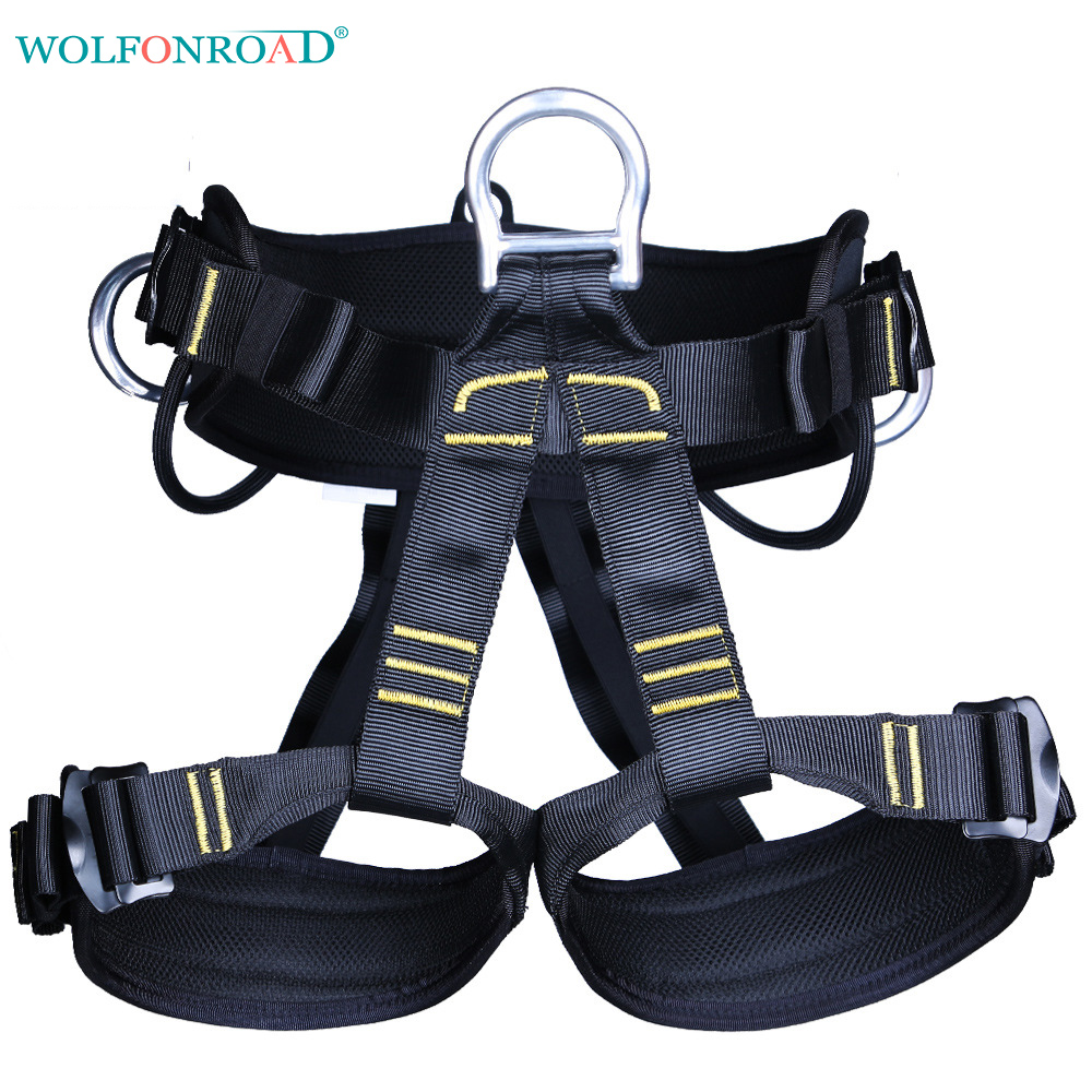 WOLFONROAD Outdoor Sports Climbing Harness Rappelling Seat Harness Rock Climbing Harnesses Mountain Safety Belts L XDQJ