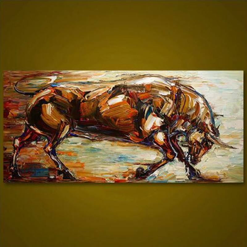 Large Handpainted Abstract Animal Oil Painting Knife Fight Bull Canvas Paintings Modern Decor Wall Art Pictures For Living Room