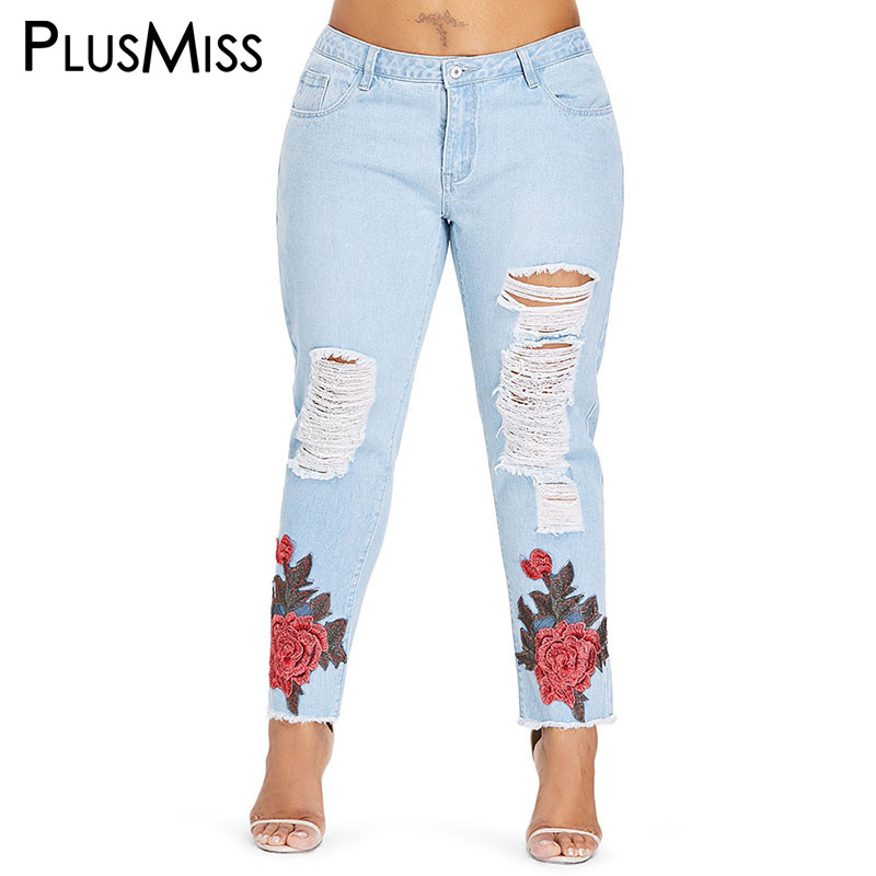 PlusMiss Plus Size 5XL Sexy Skinny Floral Embroidered Ripped   Jeans   Large Size Hole Distressed Denim Pants Women XXXXL XXXL XXL