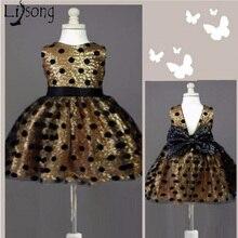 e45d2fc3cc Piękny złoty cekinami sukienka dla dziewczynki z kwiatami Chic z duży łuk  dziewczyny moda formalna sukienka
