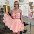 Two-piece 2016 New Summer Sexy Mini Short Pink Beaded Chiffon Women Special occasion Party Cocktail Dresses robe de cocktail