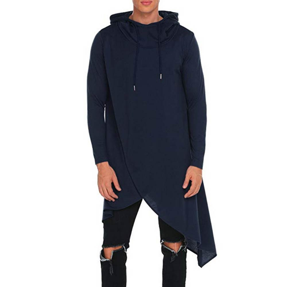 US $14 8 34% OFF|Winter Mens Poncho Hoodie Irregular Color Stitch Splice  Casual Hooded Sweatshirt Jumper Pullover Mantle Cloak Coat Party Wear-in