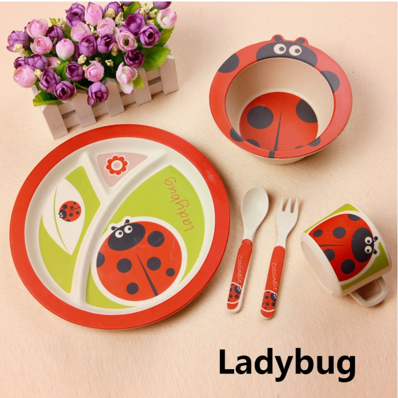 Children Sday Gift 100 Bamboo Fiber Tableware Set Cartoon